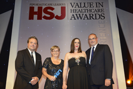 Lynne Radbone (ODN) and Jessica Good (EOECPH) collect HSJ Award 2014